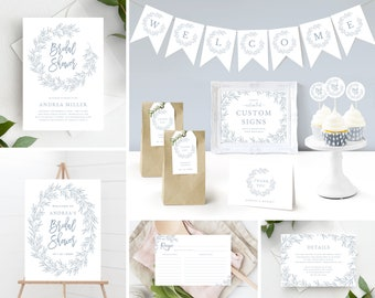 Bridal Shower Invitation Template Bundle includes matching Decor and Extras, Minimal Leaf, Instant Download, Olivia in Dusty Blue