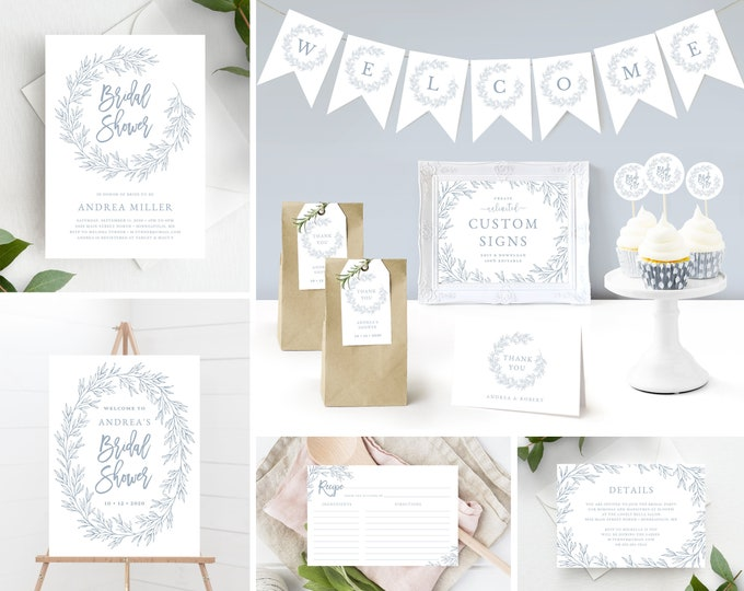 Featured listing image: Bridal Shower Invitation Template Bundle includes matching Decor and Extras, Minimal Leaf, Instant Download, Olivia in Dusty Blue