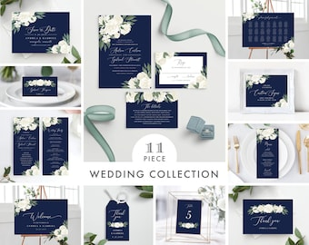 Wedding Invitation Suite Template Bundle Includes Wedding Invitation, Programs, Menu, Welcome Sign, and More! 137V17