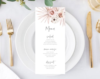 Wedding Menu Template, Dinner Party Menu Printable, Boho Palms and Floral, 150