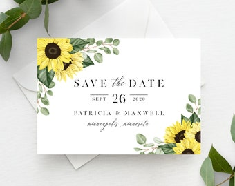 Rustic Sunflower Save the Date Template, Instant Download, 144