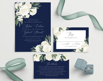 Navy Wedding Invitation Template, Colors and Text Fully Editable, White Floral, Instant Download, Templett, 137V17