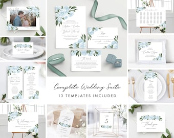 Wedding Invitation Set, Wedding Invitation Template Bundle, Dusty Blue Floral, Save the Date, Wedding Signs, Program, Seating Chart 137V15