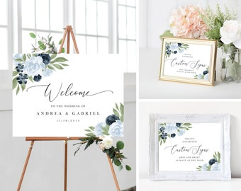 Dusty Blue and Navy Floral Wedding Welcome Sign Template Bundle
