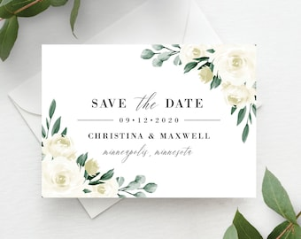 Save the Date Cards, Save the Date Template, Greenery and White Floral, Save the Dates, Templett, Printable, Instant Download, 139V1