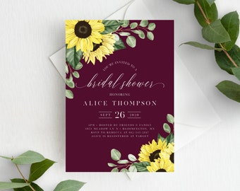 Sunflower Bridal Shower Invitation Template, Printable Burgundy Bridal Shower Invite, Editable Wedding Shower, Instant Download, 144