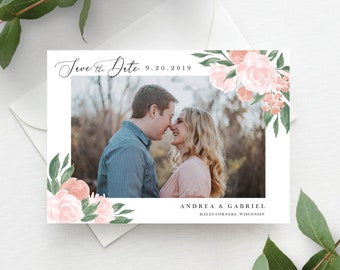 Pink and Coral Floral Save the Date Template