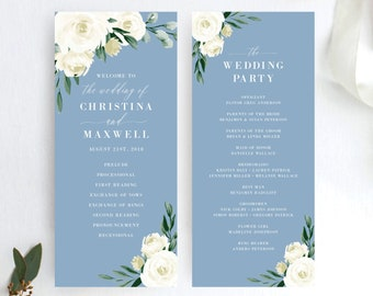 Wedding Program Template, Printable Ceremony Programs, Dusty Blue Greenery White Floral, DIY Editable Template, 139V4