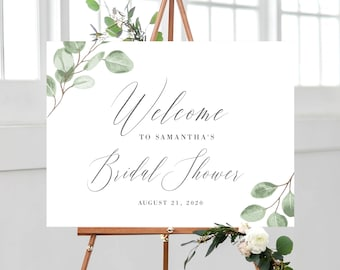 Eucalyptus Bridal Shower Welcome Sign, Greenery Bridal Shower Sign Template, 139V6