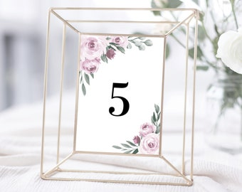 Table Numbers Template, Purple Lavender Floral Design, Fully Editable Colors and Wording with Templett, 139V2