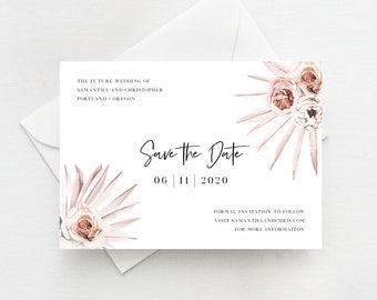 Save the Dates, Instant Download Template, Dusty Pink Palms Desert Theme, Bohemian Boho, Floral, 150
