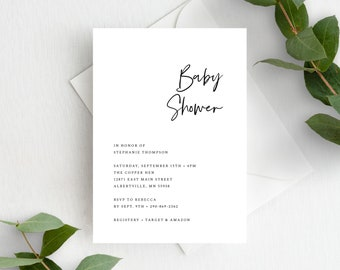 Minimal Gender Neutral Baby Shower Invites Template, Simple Baby Shower Invitation Template, 148