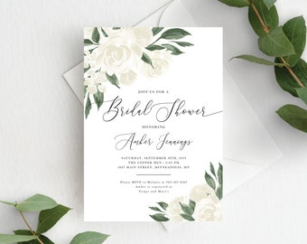 Bridal Shower Invitation Template, Editable Invite Template, Instant Download, Greenery and White Floral, 137V12