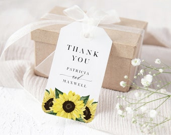 Sunflower Wedding Favor Tag Template, Printable Instant Download, 144