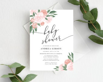 Pink and Coral Floral Baby Shower Invitation Template