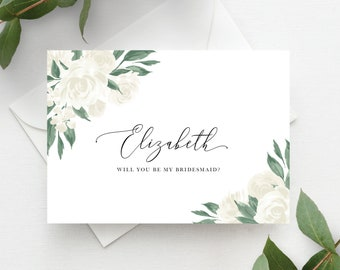 Greenery and White Floral Bridesmaid Proposal Card