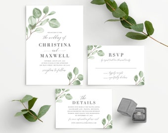 Eucalyptus Wedding Invitation Template, Minimal Greenery Wedding Invite Instant Download, 139V6