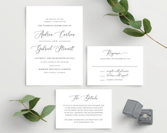 Wedding Invitation Template, Colors and Text Fully Editable, White and Black Minimal Calligraphy, Instant Download, Templett, 137V18