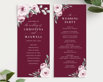 Burgundy Marsala Watercolor Floral Wedding Program Template, 139V3