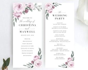 Wedding Program Template, Printable Ceremony Programs, Purple Lavender Floral, DIY Editable Template, 139V2