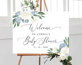 Dusty Blue Floral Baby Shower Welcome Sign