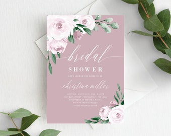 Bridal Shower Invitation Template, Editable Invite Template, Instant Download, Dusty Rose Pink Floral, 139V5