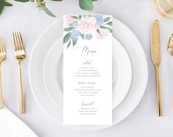 Dusty Blue and Pink Floral Wedding Menu Template
