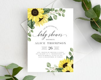 Sunflower Baby Shower Invitation Template Instant Download, For Boy Girl or Gender Neutral Baby Shower, Rustic Fall Sunflowers, 144