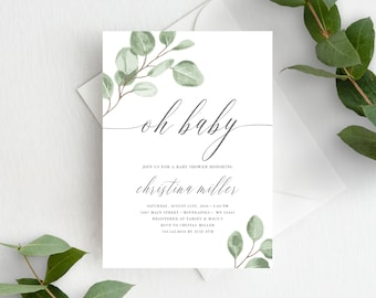 Eucalyptus Greenery Oh Baby Shower Invites Template, Minimal Baby Shower Invitation Template, 139V6