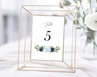 Dusty Blue and Navy Floral Table Numbers Template
