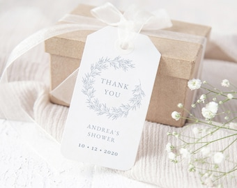 Wedding Favor Tags Template, Instant Download edit with Templett, Olivia Dusty Blue