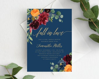 Fall Bridal Shower Invitation Template Fall in Love Bridal Invite Autumn Floral Fall In Love Wedding Shower, Orange Burgundy Navy, 140V3