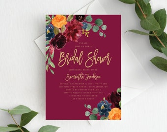 Fall Bridal Shower Invitation Template Fall Bridal Invite Autumn Floral Fall Wedding Shower, Orange Burgundy Marsala, 140V2