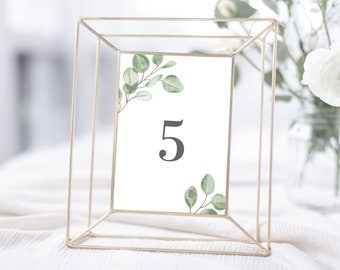 Eucalyptus Greenery Wedding Table Number Template, 4x6 and 5x7, Instant Download, 139V6