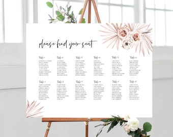 Boho Floral Palm Leaf Seating Chart Template Sign 150