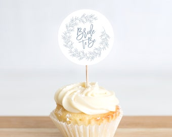 Bridal Shower Cupcake Topper 2 Inch Circle Template, Minimal Leaf, Edit Colors and Text with Templett, Olivia in Dusty Blue