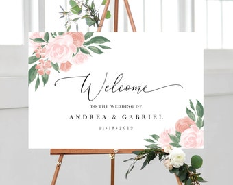 Pink and Coral Floral Wedding Welcome Sign Template