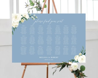 Wedding Seating Chart Template, Dusty Blue Greenery White Floral, Fully Editable Colors and Wording with Templett, 139V4