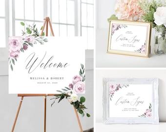 Wedding Welcome Sign Template Bundle, Printable Wedding Signs, Purple Lavender Floral, Instant Download, 139V2