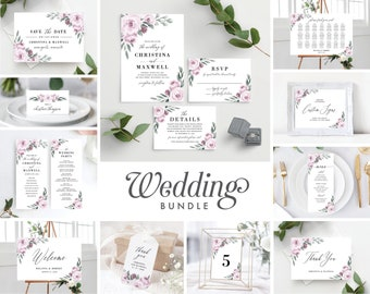 Wedding Invitation Template Bundle, Purple Lavender Floral, Save the Date, Wedding Program, Welcome Sign, Seating Chart,  139V2