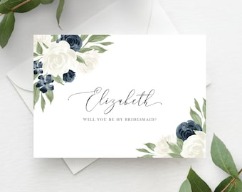 White and Navy Floral Bridesmaid Proposal Card