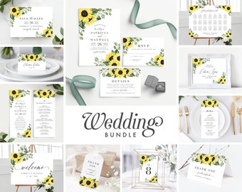 Wedding Invitation Template Sunflower Bundle , Rustic Sunflower Wedding Invite Suite Instant Download, 144