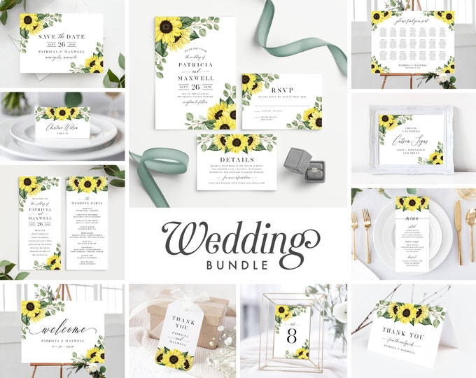 Featured listing image: Wedding Invitation Template Sunflower Bundle , Rustic Sunflower Wedding Invite Suite Instant Download, 144