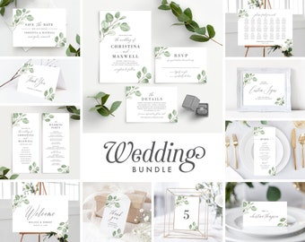 Eucalyptus Wedding Invitation Template Bundle , Minimal Greenery Wedding Invite Suite Instant Download, 139V6