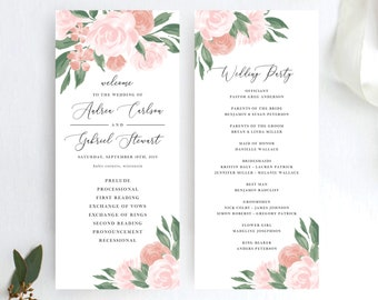 Pink and Coral Floral Wedding Program Template