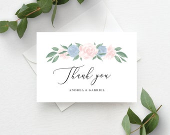 Dusty Blue and Pink Floral Thank You Card Template