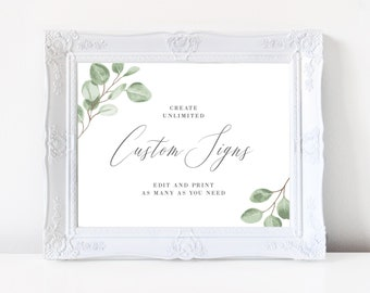 Wedding Sign Template, Eucalyptus Greenery Watercolor, Fully Editable Colors and Wording with Templett, 139V6