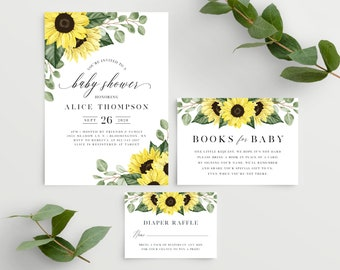 Sunflower Baby Shower Invitation Set with Diaper Raffle Tickets and Books for Baby Card, Template Instant Download, Rustic Fall, 144