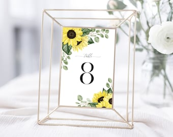 Sunflower Wedding Table Number Template, Instant Download, 144