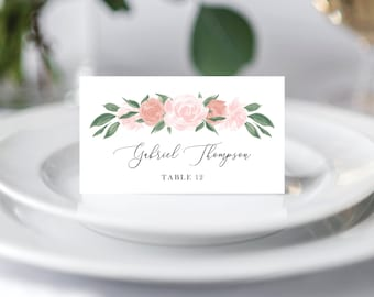 Pink and Coral Floral Wedding Place Cards Template